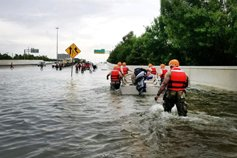 Rescue team in Hurricane Harvey