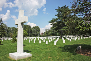 A cross in the Arlington National Cemetery
