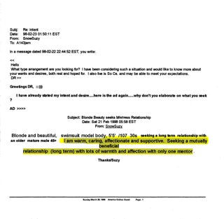 Karen de la Carriere prostitution emails