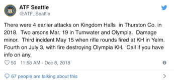 ATF Seattle tweet detailing the attacks against Kingdom Halls