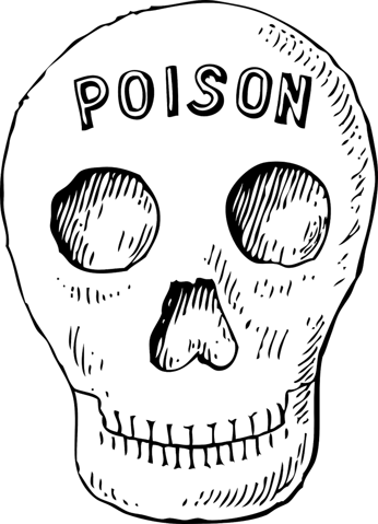 Skull with poisonous written on it
