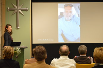 A video message being shown
