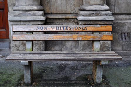 A whites-only bench in Capetown, South Africa