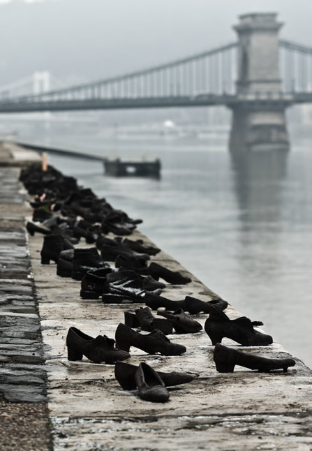 Shoes along the bank of the Danube River