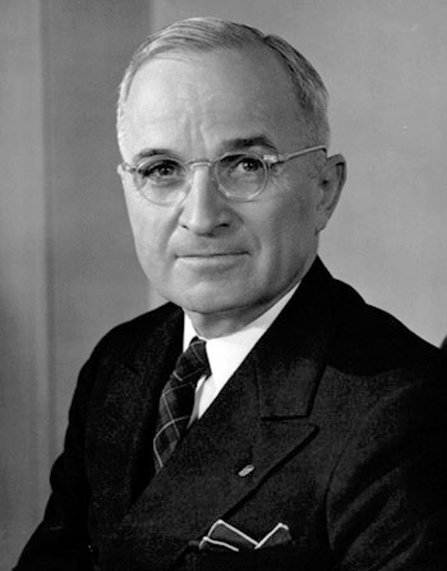 Black and white photo of President Harry Truman