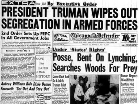 A photo of a newspaper announcing Executive Order 9981