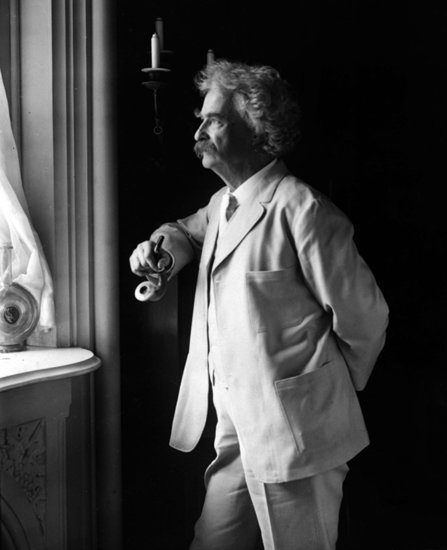 Mark Twain looking out a window