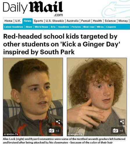 An article about redheads targeted on the annual day