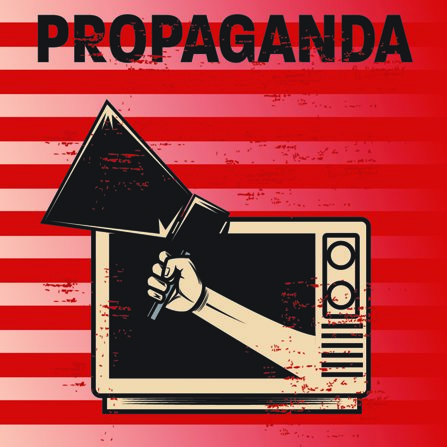 Sketch of propaganda coming out of a television