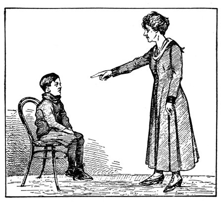 A black and white sketch of a woman scolding a little boy