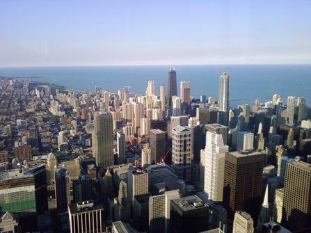 The view from the Willis (or Sears) Tower in Chicago.