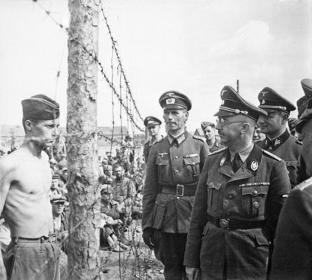 Heinrich Himmler inspects a prisoner of war.