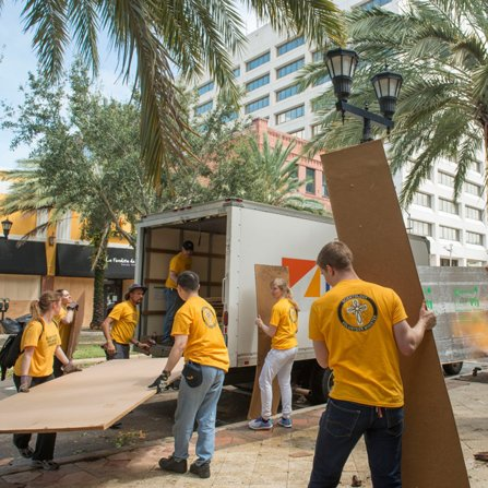 Scientology Volunteer Ministers clean up downtown Clearwater in the wake of Hurricane Irma