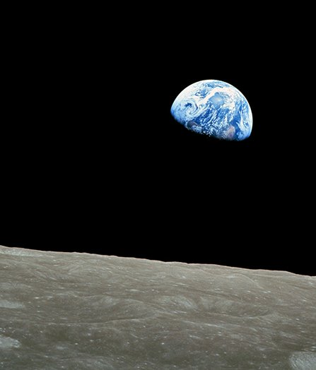A shot of the earth from the moon