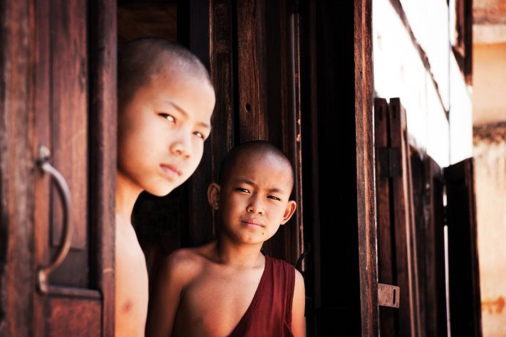 Two young Buddhist monks