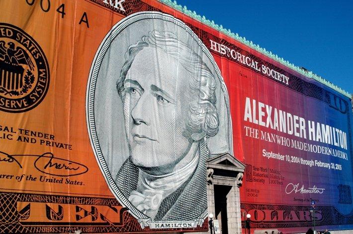 An Alexander Hamilton banner