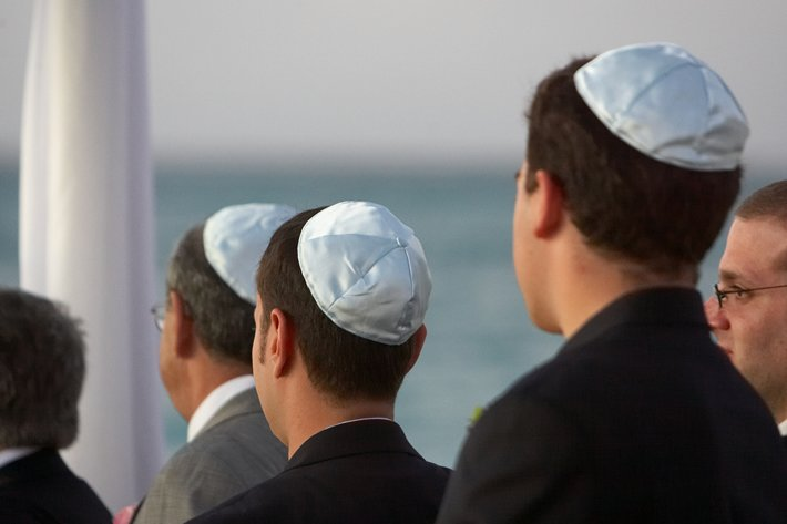 Young men wearing yarmulkes