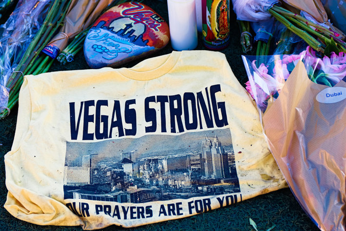 A t-shirt calling for prayers for Las Vegas