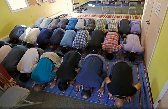 Members of the Basking Ridge Islamic Society praying.