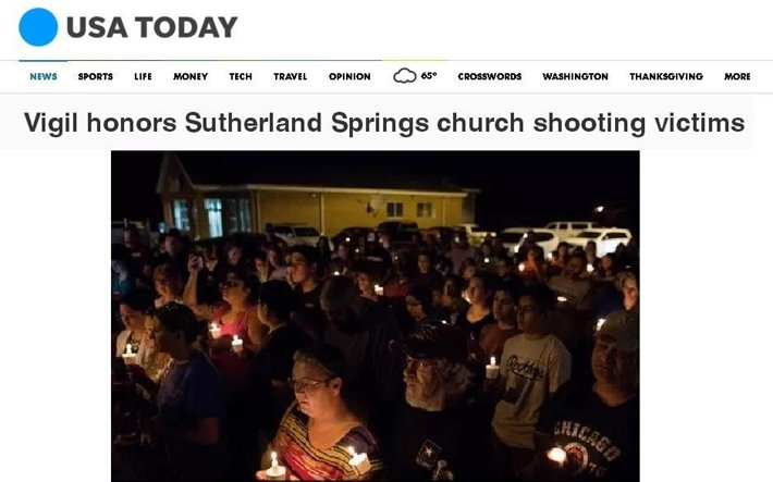 USA Today coverage of a vigil held in Sutherland Springs