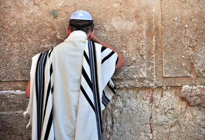 A Hasidic Jew praying at the Wailing Wall in Jerusalem