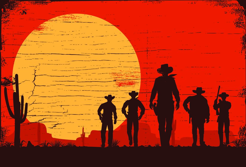Cowboy figures against the sun