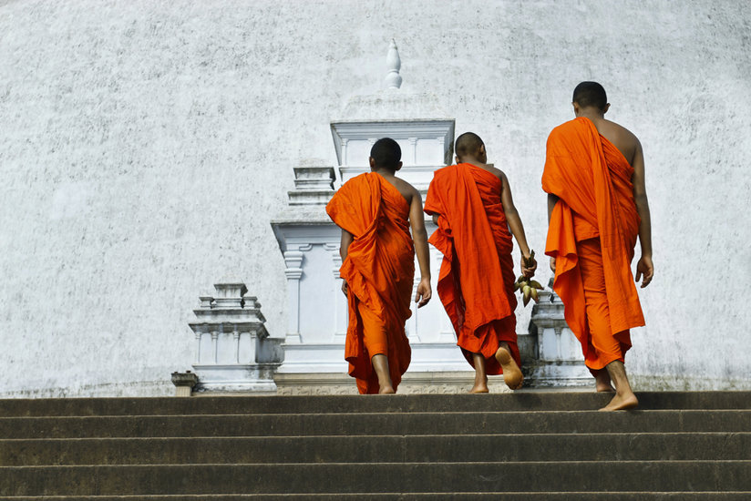 Monks walking up steps