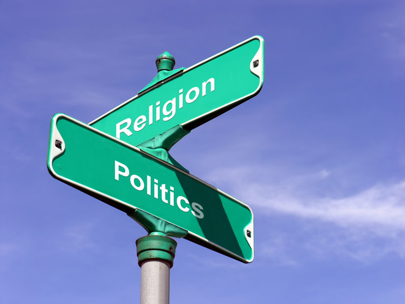 Two road signs - one for politics, one for religion