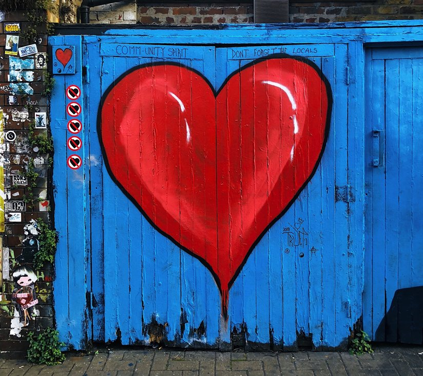 A heart painted on a door
