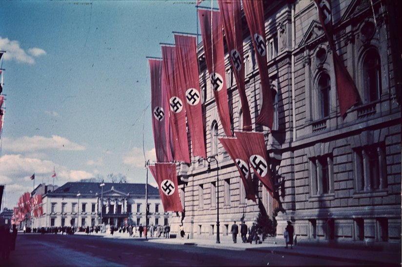 A building with Nazi swastikas