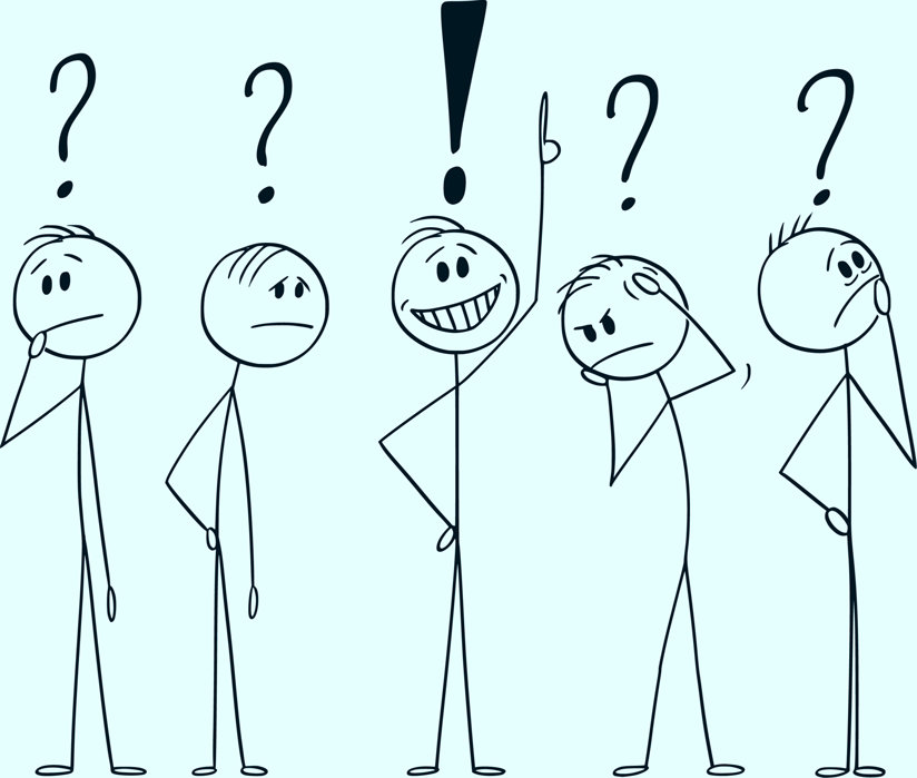Cartoon people with question marks