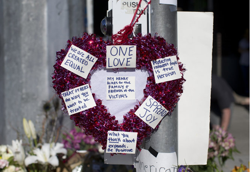 A heart at the vigil held for victims of the Portland stabbing.