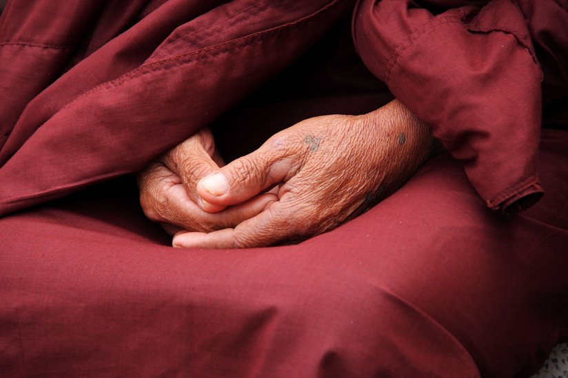 A monk's hands in prayer