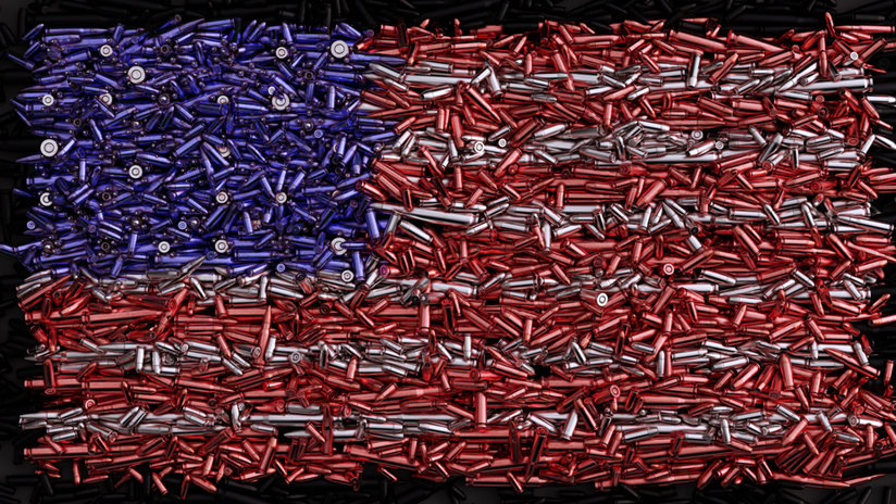 American flag made of bullets