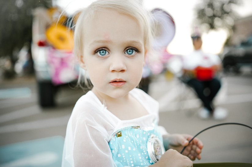 A little girl with blue eyes