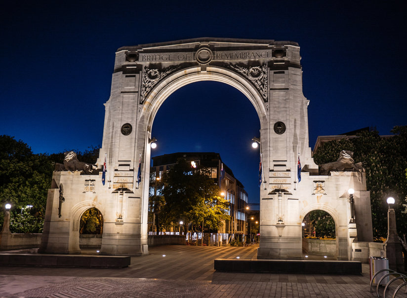 An arch at night