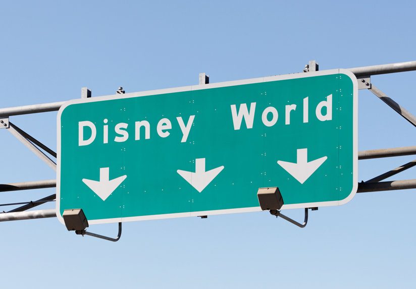 A sign for Disney World