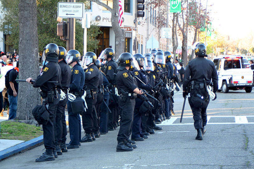 Riot police line-up near Berkeley campus.